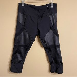 Calia Black Mesh & Faux Leather Cropped Leggings
